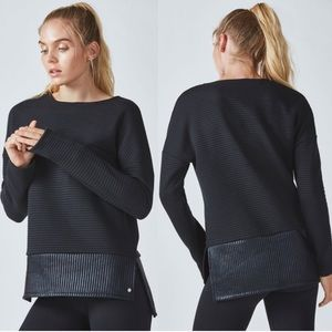 Fabletics Bre Black Quilted Tunic Sweatshirt| M